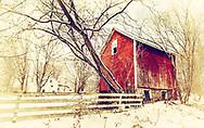 Winter Barn in Red