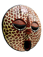 African tribal ceremonial Lion mask, wooden traditional tribe mask, cut out