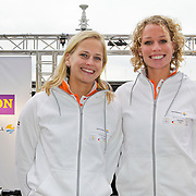 NLD/Amsterdam/20120306 - Presentatie olympisch team NUON - NOC-NSF Vattenfall, beachvolleybalster Marleen van Iersel en Sanne Keizer