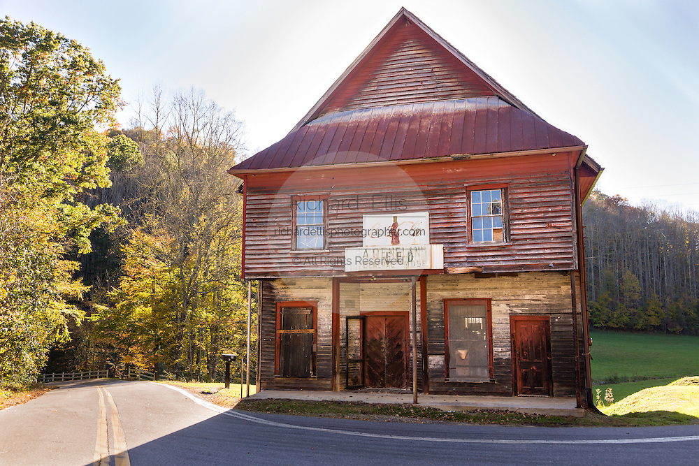 A old abandoned General Store building along the Quilt Trails in Prices Creek, North Carolina. The quilt trails honor handmade quilt designs of the rural Appalachian region.