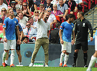 Football - 2019 FA Community Shield - Liverpool vs. Manchester City<br /> <br /> Man City Manager, Pep Guardiola argues with the referee, at Wembley Stadium.<br /> <br /> COLORSPORT/ANDREW COWIE