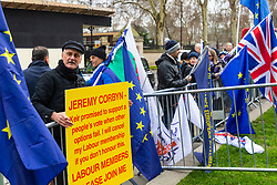 """A Labour party member makes a demand that opposition leader Jeremy Corbyn promises a 'Peoples' Vote"""" on the Brexit deal. London, January 14 2019."""
