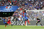 Portugal Midfielder William Carvalho wins a header during the Euro 2016 final between Portugal and France at Stade de France, Saint-Denis, Paris, France on 10 July 2016. Photo by Phil Duncan.