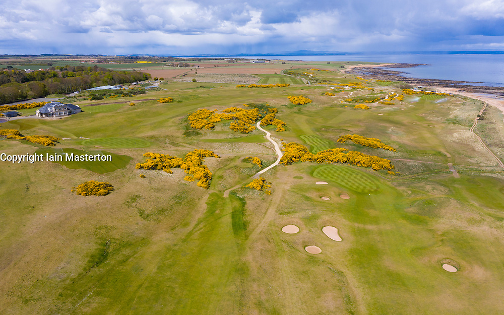 Aerial view of Kingsbarns Golf Course in Fife, Scotland, UK