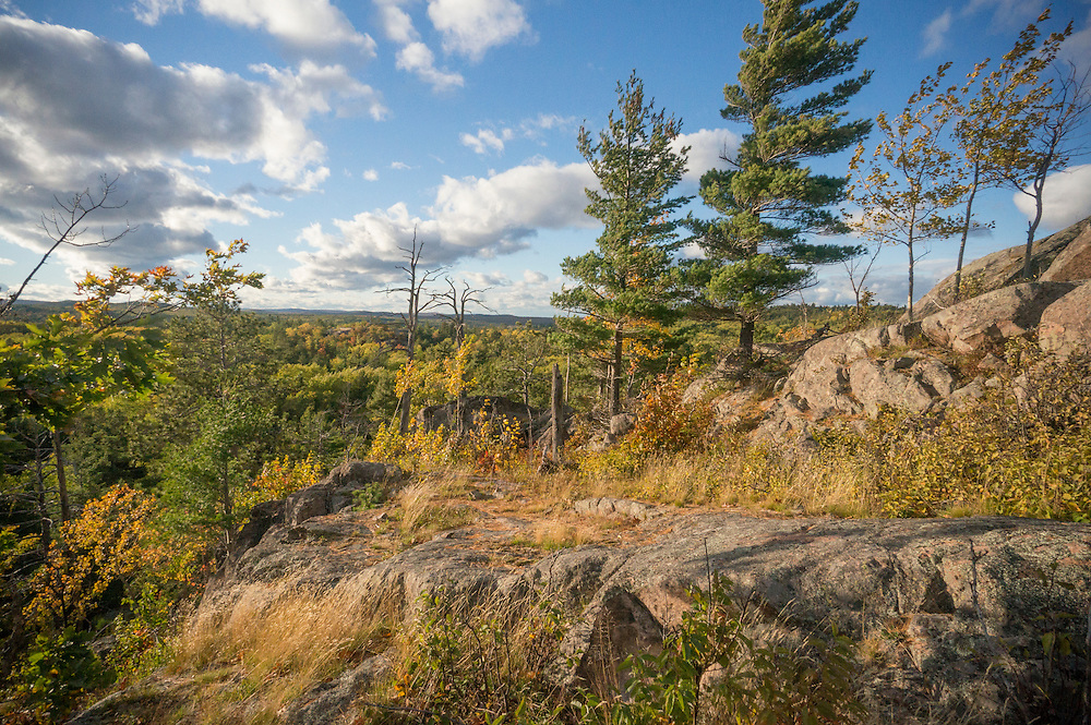 Fall color along the rocky spines of the Huron Mountains near Marquette, Michigan.