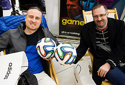 Rok Plestenjak and Igor Kovacic at presentation of Brazuca, official Adidas Match Ball of the 2014 FIFA World Cup in Brasil and new collection of Soccer shoes Samba, on December 5, 2013 in BTC Citypark, Ljubljana, Slovenia. Photo by Vid Ponikvar / Sportida