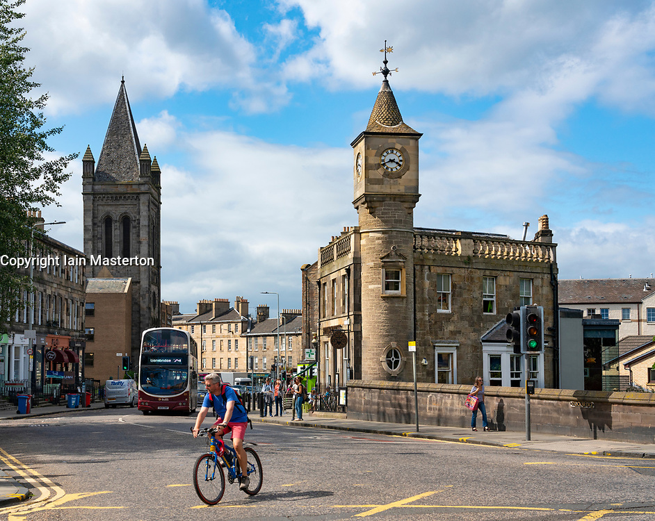View of Stockbridge district of Edinburgh, Scotland UK