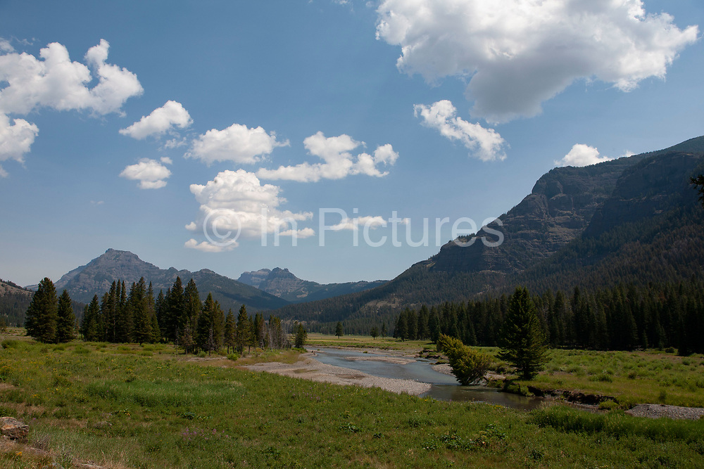 Landscape around Soda Butte Creek with Mount Norris. On the Beartoot Scenic Highway, Wyoming.