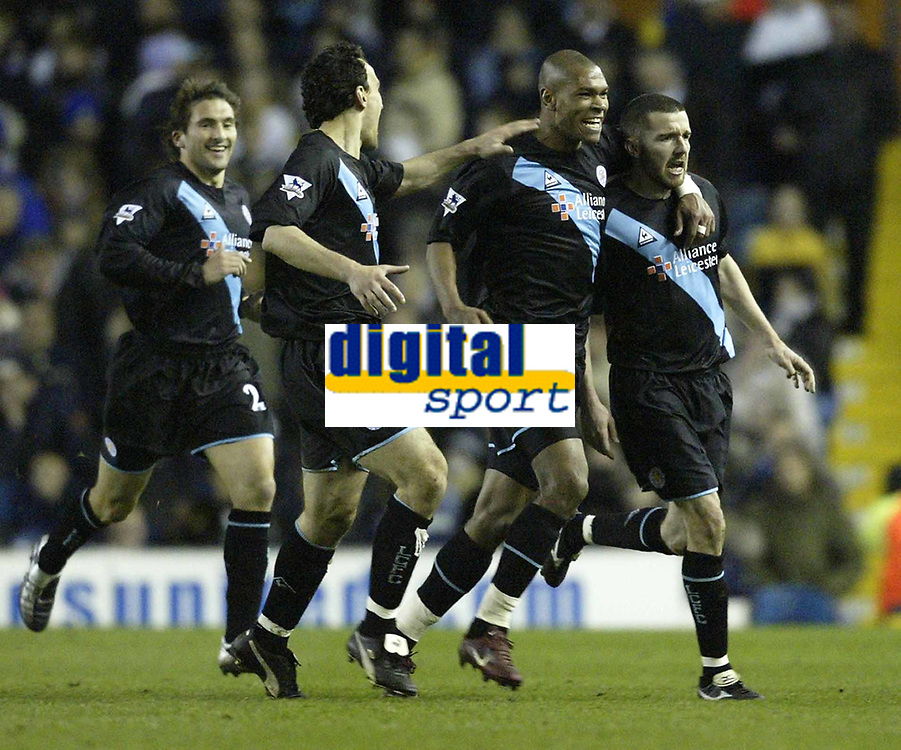 Photo. Aidan Ellis, Digitalsport.<br /> Leeds United v Leicester City.<br /> FA Barclaycard Premiership.<br /> 05/04/2004.<br /> Leicester's muzzy izzet celebrates his equaliser with Marcus Bent
