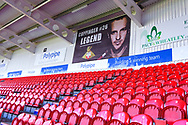A view of the banner in tribute to James Coppinger of Doncaster Rovers (26) in the stands before the EFL Sky Bet League 1 match between Doncaster Rovers and Coventry City at the Keepmoat Stadium, Doncaster, England on 4 May 2019.