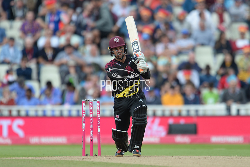Johann Myburgh of Somerset batting during the Vitality T20 Finals Day semi final 2018 match between Sussex Sharks and Somerset County Cricket Club at Edgbaston, Birmingham, United Kingdom on 15 September 2018.