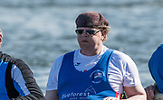 """Mortlake/Chiswick, GREATER LONDON. United Kingdom. """"Fashion accessory"""" Rower with reversed cap. 2017 Vesta Veterans Head of the River Race, The Championship Course, Putney to Mortlake on the River Thames.<br /> <br /> <br /> Sunday  26/03/2017<br /> <br /> [Mandatory Credit; Peter SPURRIER/Intersport Images]"""
