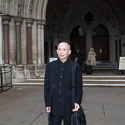 "London, October 11 2017. Non-gendered campaigner Christie Elan-Cane arrives at the High Court where she is launching a fight for the right to have ""X"" passports in the UK. Applicants currently have no choice other than to indicate whether they are male or female. © Paul Davey"