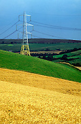 Electricity pylon carrying electricity transmission lines across countryside, on Eggardon Hill, Dorset, England, UK