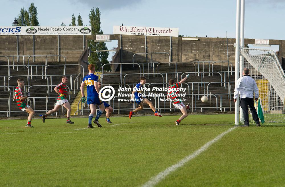 19-10-19. Kilbride v Ratoath - Meath Junior B FC Final at Pairc Tailteann.<br /> Padraic Byrne shooting to the net for a Ratoath goal.<br /> Photo: John Quirke / www.quirke.ie<br /> ©John Quirke Photography, Unit 17, Blackcastle Shopping Cte. Navan. Co. Meath. 046-9079044 / 087-2579454.