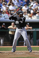 MESA, AZ - MARCH 6:  Andruw Jones #25 of the Chicago White Sox bats against the Chicago Cubs on March 6, 2010 at HoHoKam Park in Mesa, Arizona. (Photo by Ron Vesely)
