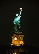 Night view of the Statue of Liberty on Liberty Island, New York.
