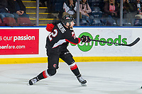 KELOWNA, BC - FEBRUARY 08: Cole Moberg #2 of the Prince George Cougars takes a shot against the Kelowna Rockets at Prospera Place on February 8, 2019 in Kelowna, Canada. (Photo by Marissa Baecker/Getty Images)