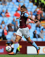 Rudy Gestede of Aston Villa in action. EFL Skybet championship match, Aston Villa v Rotherham Utd at Villa Park in Birmingham, The Midlands on Saturday 13th August 2016.<br /> pic by Andrew Orchard, Andrew Orchard sports photography.