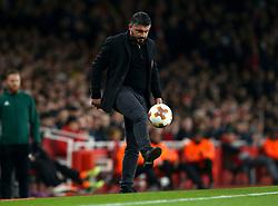 AC Milan head coach Gennaro Gattuso does keepy-uppy with the ball  - Mandatory by-line: Robbie Stephenson/JMP - 15/03/2018 - FOOTBALL - Emirates Stadium - London, England - Arsenal v AC Milan - UEFA Europa League Round of 16, Second leg