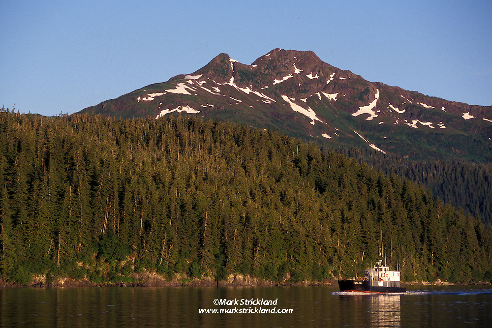 Tall mountains create an impressive backdrop as a vessel navigates calm waters in Prince William Sound, Alaska