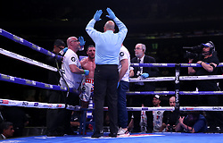 Match referee stops the fight as trainer Jamie Moore pulls Tommy Coyle (second left) out of the WBO International Super-Lightweight title fight at the end of the 9th round at Madison Square Garden, New York.