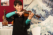 Japanese Soloist Madoka Miki plays a violin from Chaconne Co. Ltd. from Nagoya. Several Japanese firms exhibited at Mondomusica.