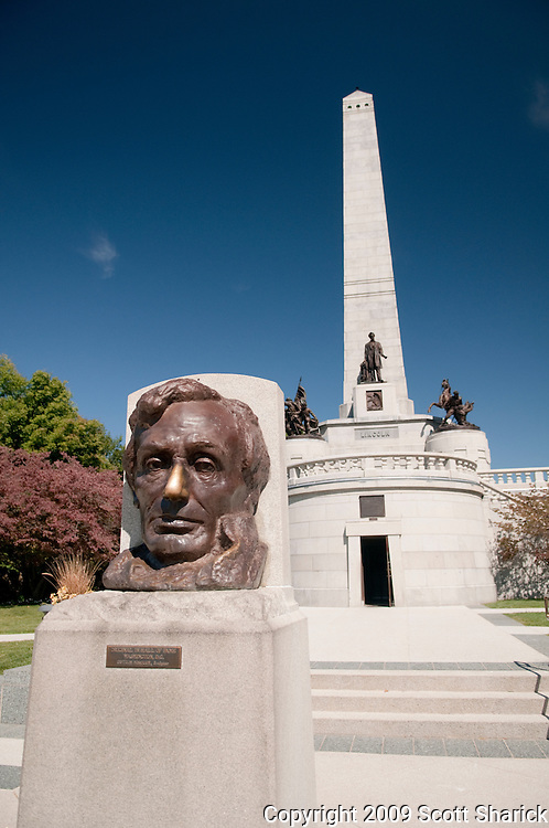 A sculpture of President Lincoln in front of his tomb in a Lincoln, Illinois cemetery. People rub his nose for good luck. Missoula Photographer