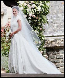 May 20, 2017 - London, London, United Kingdom - Image ©Licensed to i-Images Picture Agency. 20/05/2017. London, United Kingdom. Pippa Middleton wedding to James Matthews...Pippa Middleton arrives with her father Michael Middleton for her wedding to James Matthews at St Mark's Church in Englefield, England Saturday, May 20, 2017. Middleton, the sister of Kate, Duchess of Cambridge is to marry hedge fund manager James Matthews in a ceremony Saturday where her niece and nephew Prince George and Princess Charlotte are in the wedding party, along with sister Kate and princes Harry and William. Picture by  i-Images / Pool (Credit Image: © i-Images via ZUMA Press)