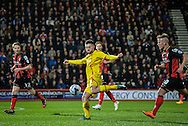 Adam Lallana with a effort on goal during the Capital One Cup match between Bournemouth and Liverpool at the Goldsands Stadium, Bournemouth, England on 17 December 2014.