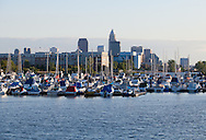 Cleveland skyline from Lake Erie looking west
