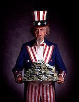 Uncle Sam holding  money