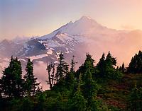 Mt. Baker, WA, Mt. Baker Wilderness Area, Sunset, Mist in the valley, Table Mt.