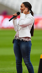 London, 2017-August-04. Rebecca Ferguson rehearses at the London Stadium ahead of the opening of the IAAF World Championships London 2017. ©Paul Davey.
