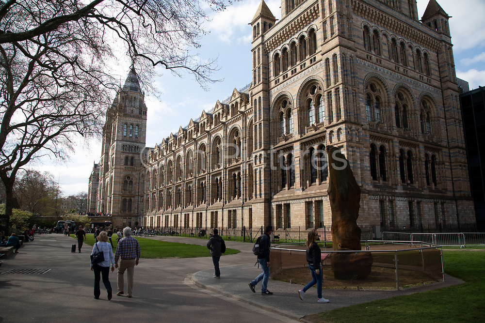 The Natural History Museum exterior in London, England, United Kingdom. The museum exhibits a vast range of specimens from various segments of natural history. The museum is home to life and earth science specimens comprising some 80 million items within five main collections: botany, entomology, mineralogy, paleontology and zoology. The museum is a centre of research specialising in taxonomy, identification and conservation.