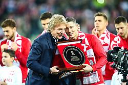 November 15, 2018 - Gdansk, Poland - Zbigniew Boniek gave Robert Lewandowski an award for 100th game for Poland during International Friendly match between Poland and Czech Republic on November 15, 2018 in Gdansk, Poland. (Credit Image: © Foto Olimpik/NurPhoto via ZUMA Press)