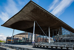 Cardiff, UK. 2nd May, 2017. The Senedd Cymru, or Welsh Parliament, on Cardiff Bay. The Senedd building was opened on 1st March 2006 and contains a debating chamber and three committee rooms for the Welsh Parliament.