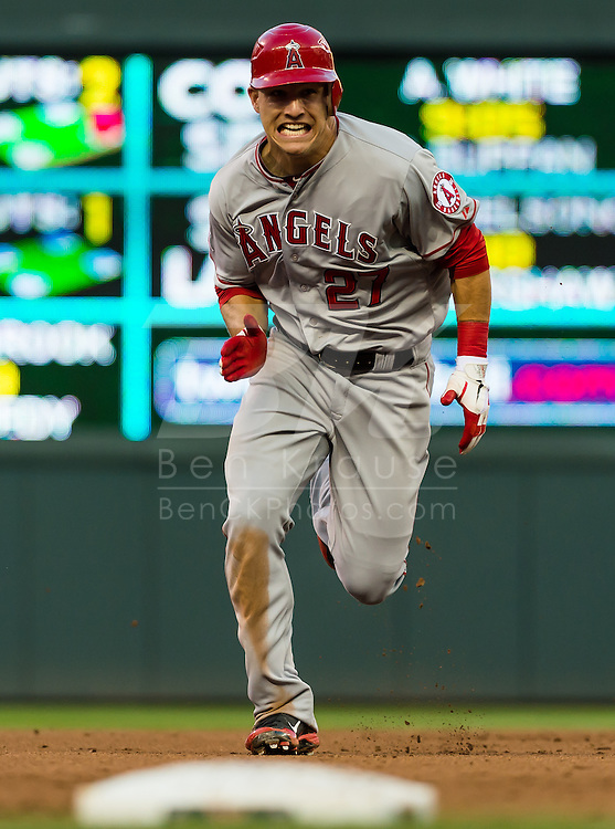 Los Angels Angels Mike Trout runs to 3rd base during a game against the Minnesota Twins on May 8, 2012 at Target Field in Minneapolis, Minnesota.  The Twins defeated the Angels 5 to 0. © 2012 Ben Krause