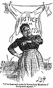 Laundresses Strike:  A strikers' leader addressing a meeting in Hyde Park, London. Cartoon from 'Punch'  London 27 June 1891