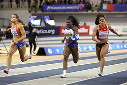 Great Britian's Asha Philip (centre) wins bronze at the Women's 60 finals during day two of the European Indoor Athletics Championships at the Emirates Arena, Glasgow.