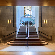 Smithsonian National Museum of African Art Stairway. The Smithsonian National Museum of African Art was opened at its current location in 1987 as a mostly underground facility behind the Smithsonian Castle on Washington DC's National Mall. It is dedicated to ancient and contemporary African art.
