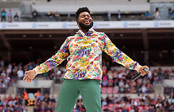 Khalid on stage during Capital's Summertime Ball. The world's biggest stars perform live for 80,000 Capital listeners at Wembley Stadium at the UK's biggest summer party.