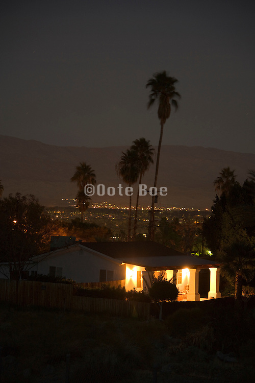 house at night at the edge of town Cathedral City Palm Springs California USA