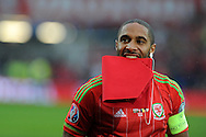 Ashley Williams, the Wales capt looks on ahead of k/o. Wales v Belgium, UEFA Euro 2016 qualifying match at the Cardiff city Stadium in Cardiff, South Wales on Friday 12th June 2015. pic by Andrew Orchard, Andrew Orchard sports photography.