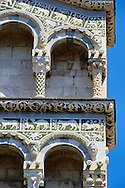 13th century Romaesque arcade pillars, sculptures and inlaid depictions of animals of the Cattedrale di San Martino,  Duomo of Lucca, Tunscany, Italy, .<br /> <br /> Visit our ITALY PHOTO COLLECTION for more   photos of Italy to download or buy as prints https://funkystock.photoshelter.com/gallery-collection/2b-Pictures-Images-of-Italy-Photos-of-Italian-Historic-Landmark-Sites/C0000qxA2zGFjd_k<br /> <br /> If you prefer to buy from our ALAMY PHOTO LIBRARY  Collection visit : https://www.alamy.com/portfolio/paul-williams-funkystock/lucca.html .<br /> <br /> Visit our MEDIEVAL PHOTO COLLECTIONS for more   photos  to download or buy as prints https://funkystock.photoshelter.com/gallery-collection/Medieval-Middle-Ages-Historic-Places-Arcaeological-Sites-Pictures-Images-of/C0000B5ZA54_WD0s