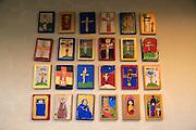 Children's art pictures inside historic Nykirken church, city of Bergen, Norway