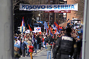 Kosovo, Mitrovica<br /> Monday, March 3, 2008<br /> <br /> Around more than 200 local Serbs supported from Serbs of Belgrade, held a protest today in northern Mitrovica, so close to the bridge they held them angry meeting against Kosovo Independence proclaimed from Kosovo Assembly-room, which Independence is declared on basis of UN Special Envoy Marty Ahtisari's package. <br /> During the protest Angry Serbs throw fire-crackers on the police line which was placed on the bridge.<br /> Also today, office of Communities in the Bosnian block (Mahala), in northern Mitrovica, came under fire, but fortunately, except material damages no casualty has been reported, said the Kosovo Police Service (KPS) spokesman from Mitrovica region LT.Besim HOTI.<br /> PICTURED:<br /> Angry serbs protestors, shaking Spain, Russian and Greec national Flag's, flags of countrys who opposes Ahtisaari's plan to been implemented in Kosovo, which plan is political base of Kosovo Independent declaration proclaimed on February 17 2008<br /> <br /> VEDAT xhymshiti/ZUMApress photojournalist