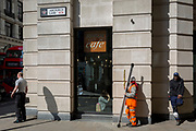 A land surveyor works in the City of London, the capital's financial district also known as the Square Mile, on 6th April 2017, in London, England. Surveying or land surveying is the technique, profession, and science of determining the terrestrial or three-dimensional position of points and the distances and angles between them.