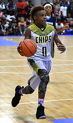 July 21, 2017 - Charlotte, NC, USA - LeBron James Jr. drives to the basket during youth tournament action at the Charlotte Convention Center in Charlotte, N.C., on Friday, July 21, 2017. (Credit Image: © Jeff Siner/TNS via ZUMA Wire)