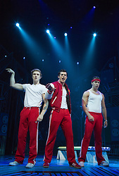 © Licensed to London News Pictures. 11/10/2012. London, England. L-R: Duncan Leighton as Wayne, Stewart Clarke as Eddie and Robbie Boyle as Huey. LOSERVILLE, a new original British musical created by Elliot Davis and James Bourne, is set in 1971 in an American High School and features Aaron Sidwell (EastEnders), Eliza Hope Bennett (Nanny McPhee), Stewart Clarke, Charlotte Harwood (Hollyoaks), Richard Lowe, Lil' Chris (Rock School) and Daniel Buckley. Photo credit: Bettina Strenske/LNP